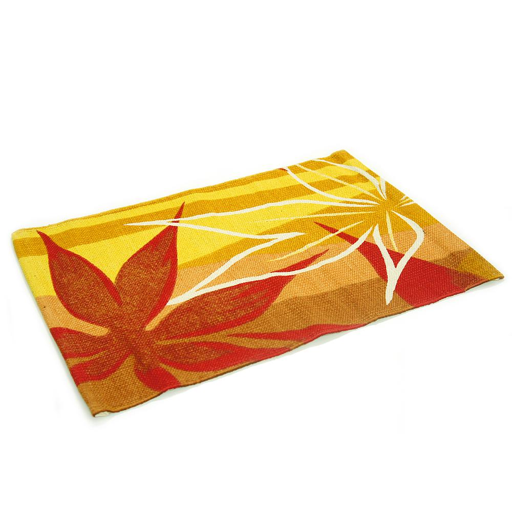 布安於室-印度婆娑純棉踏墊2入-黃紅色系