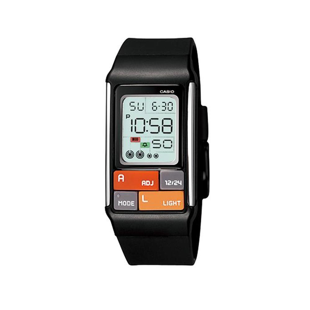 CASIO 太空漫步幾何方塊數字錶(LDF-50-1A)-黑/23.6mm