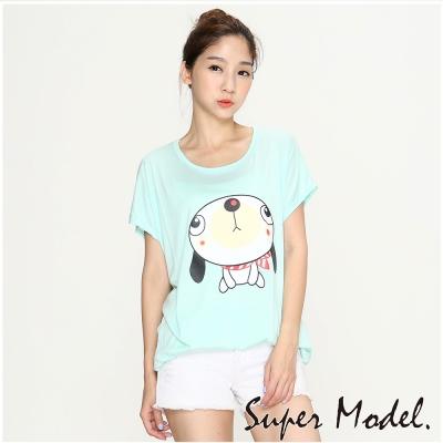休閒卡通印花短袖上衣-淺藍色(M-XL適穿)  名模衣櫃