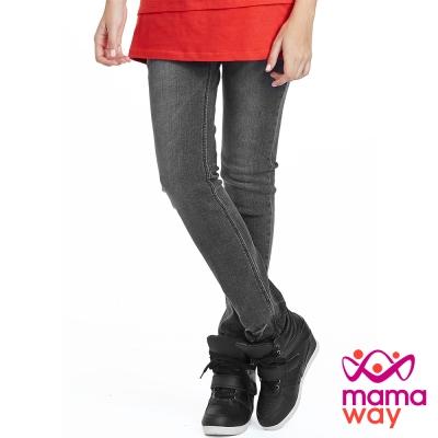 【Mamaway】孕期窄管灰色牛仔褲