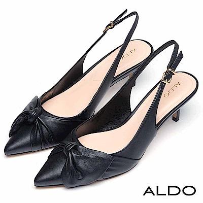 ALDO 原色真皮鞋面蝴蝶扭結金屬釦帶尖頭細跟鞋~尊爵黑色