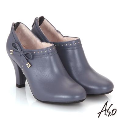 A.S.O 輕透美型 真皮鉚釘側蝴蝶結飾奈米高跟鞋 紫藍色