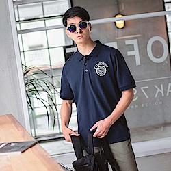 高含棉刺繡徽章造型POLO衫-OB大尺碼