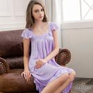 大尺碼 粉嫩紫方領蓋袖睡衣L-2L Annabery