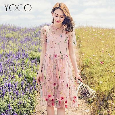 東京著衣-yoco浪漫花語立體花草刺繡網紗假兩件洋裝-S.M.L(共一色)