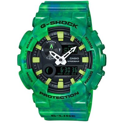 G-SHOCK 卡西歐衝浪專用潮汐月相運動錶(GAX-100MB-3A)-綠/51.2mm