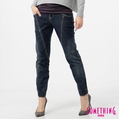 SOMETHING LADIVA 多剪接束口牛仔長褲-女-酵洗藍