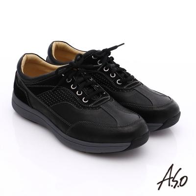A.S.O 挺力氣墊 真皮絨面輕量抗震休閒鞋 黑