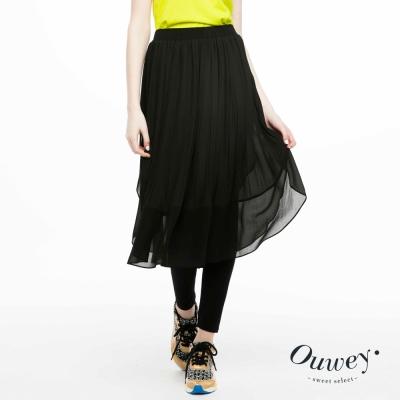 OUWEY歐薇-飄逸雪紡壓摺造型內搭褲