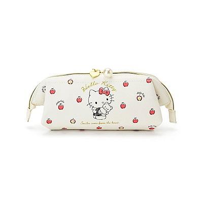 Sanrio HELLO KITTY大開口PU皮革筆袋/化妝包(蘋果小熊)