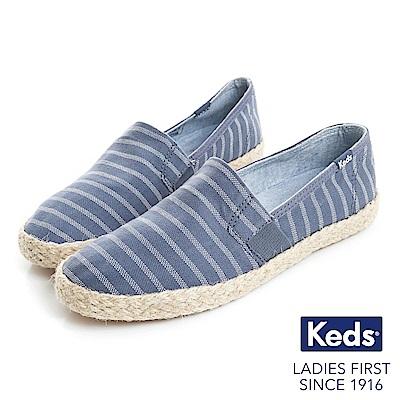 Keds CHILLAX A-LINE 夏季草編條紋休閒鞋-靛藍