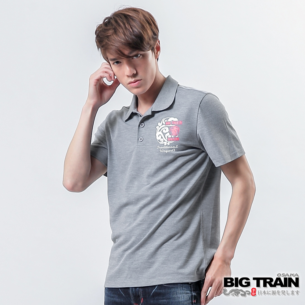 BIG TRAIN雷神雙鯉魚POLO衫-男-灰色