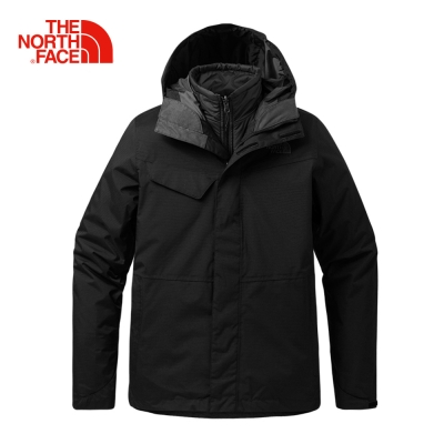 The North Face北面男款黑色戶外防水保暖棉三合一外套