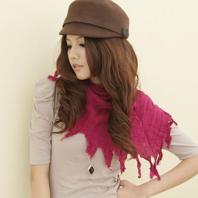 I-shi  暖呼呼~波西米亞三角圍巾(深桃紅)