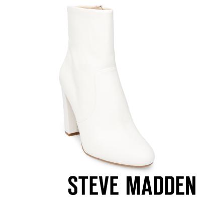 STEVE MADDEN-EDITOR 真皮粗高跟拉鍊短靴-白色