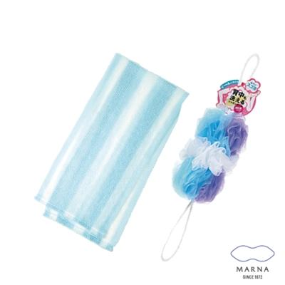 【MARNA】兔尾毛沐浴巾刷背泡泡海綿組(藍)