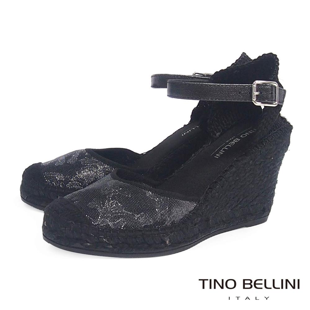 Tino Bellini 西班牙進口渡假風情繫踝麻底楔型鞋_黑