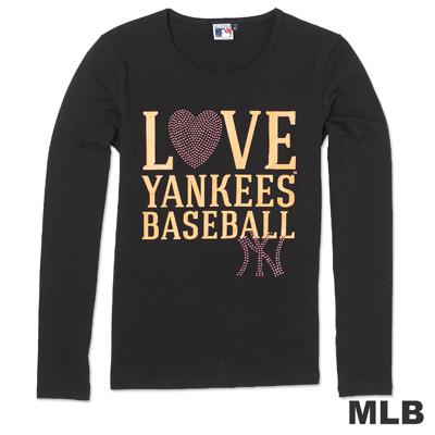 MLB-紐約洋基隊活力閃亮圓領薄T恤-黑(女)