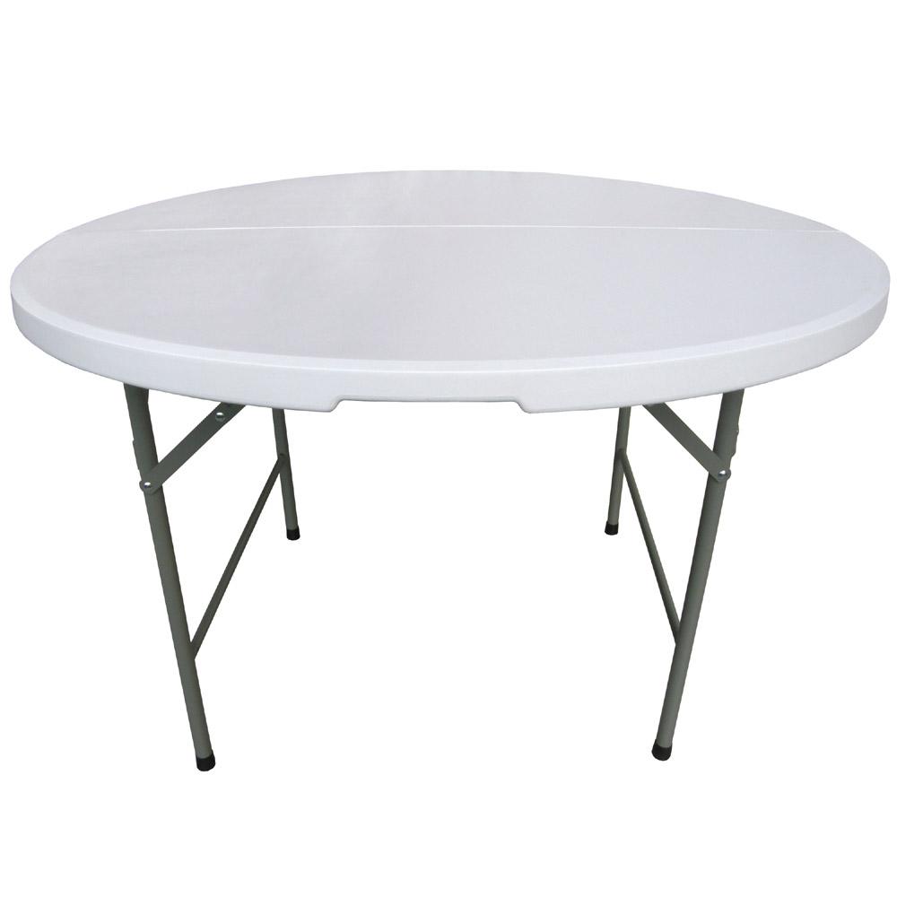 【免工具】圓形4尺寬度-對疊圓形折疊桌/餐桌/工作桌/洽談桌(1入/組)