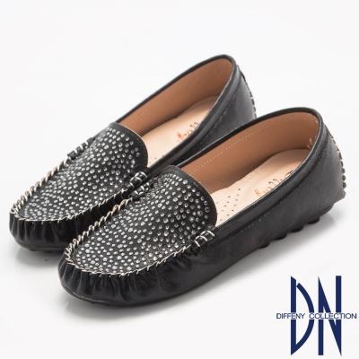 DN 優雅舒適 貴氣水鑽金蔥平底豆豆鞋-黑