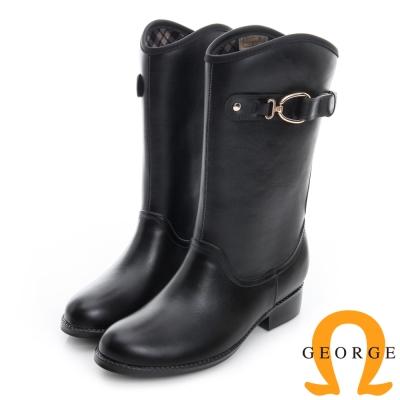 GEORGE-喬治-側皮帶扣低跟中筒雨靴-黑色