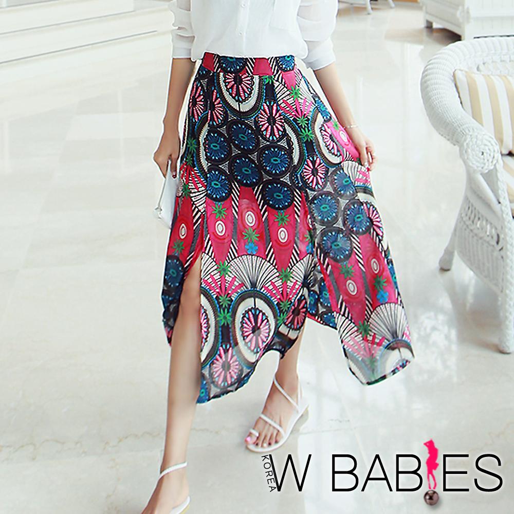 正韓 繽紛花朵圖騰開衩長裙 (共三色)-W BABIES