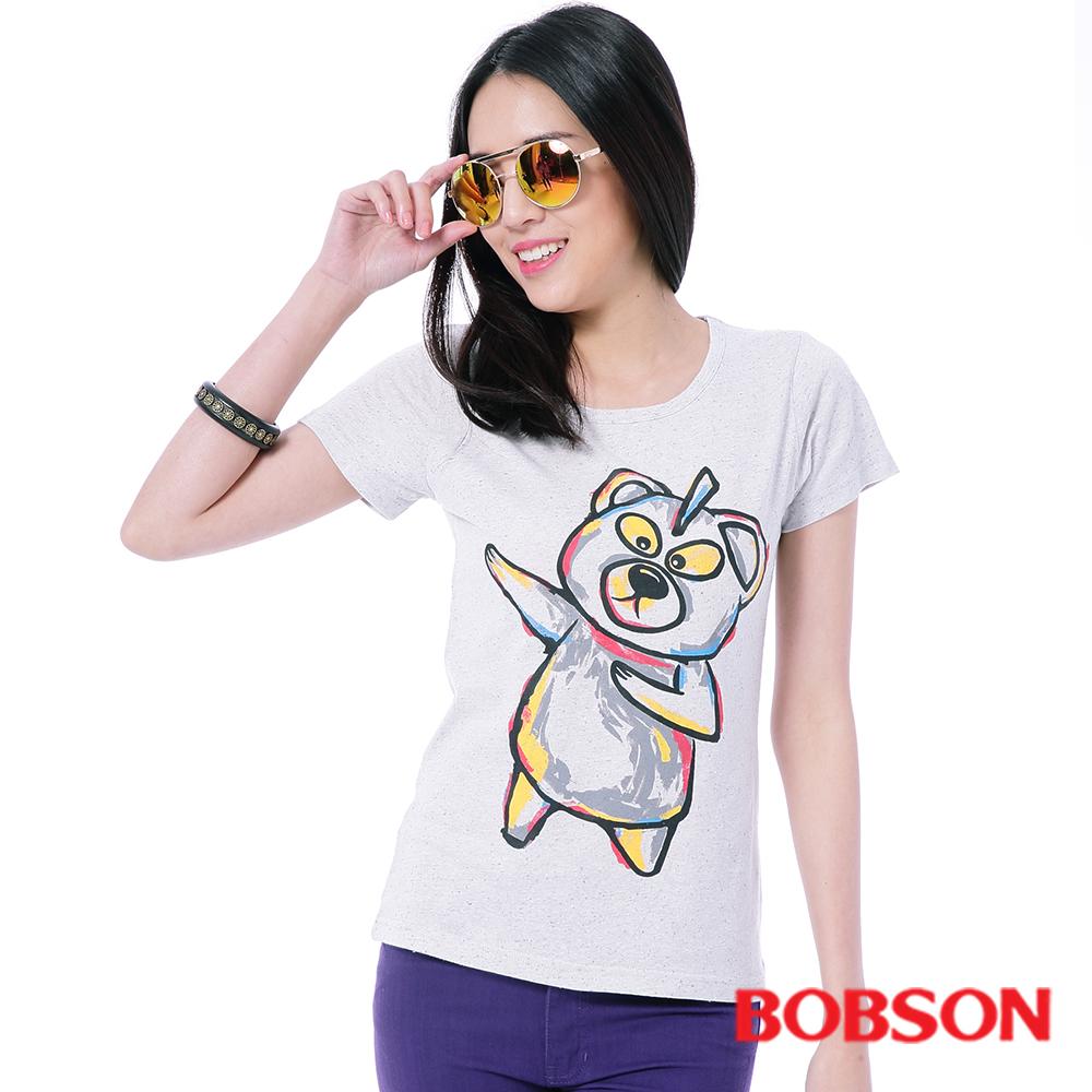 BOBSON  女款黃色小熊印圖T恤
