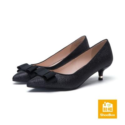 達芙妮DAPHNE-dulala系列-蝴蝶結金蔥布尖頭高跟鞋-黑