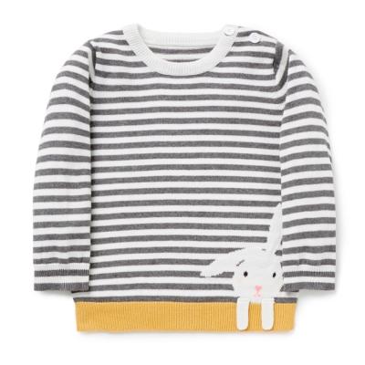 歐美風 男童 純棉長袖T恤-條紋兔