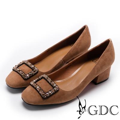 GDC-時尚百搭羊絨方鑽飾扣粗跟鞋-棕色