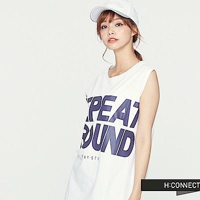 H:CONNECT 韓國品牌 女裝 -亮眼大印字側開岔背心-白