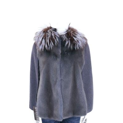 GRANDI furs 灰藍色拼接斗篷皮草外套(70%WOOL)