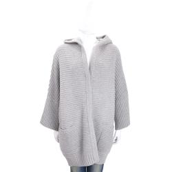 Max Mara 灰色粗針織羊毛連帽外套(80%WOOL)