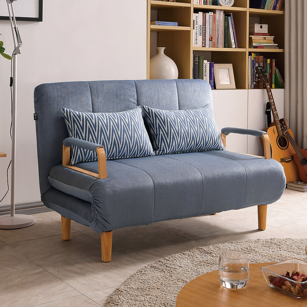 Bernice-妮德灰色布沙發床/雙人椅/二人座(送抱枕)