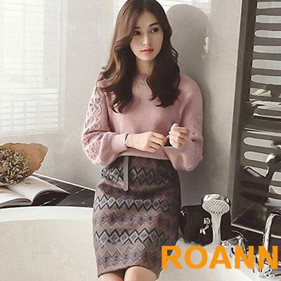 圓領泡泡袖毛衣+印花短裙兩件套 (花色)-ROANN