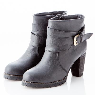 ☆JMS☆時尚顯瘦高跟機車短靴-黑色