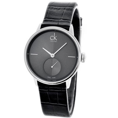 ck  Accent 摩登獨立小秒針時尚腕錶-灰黑/32mm