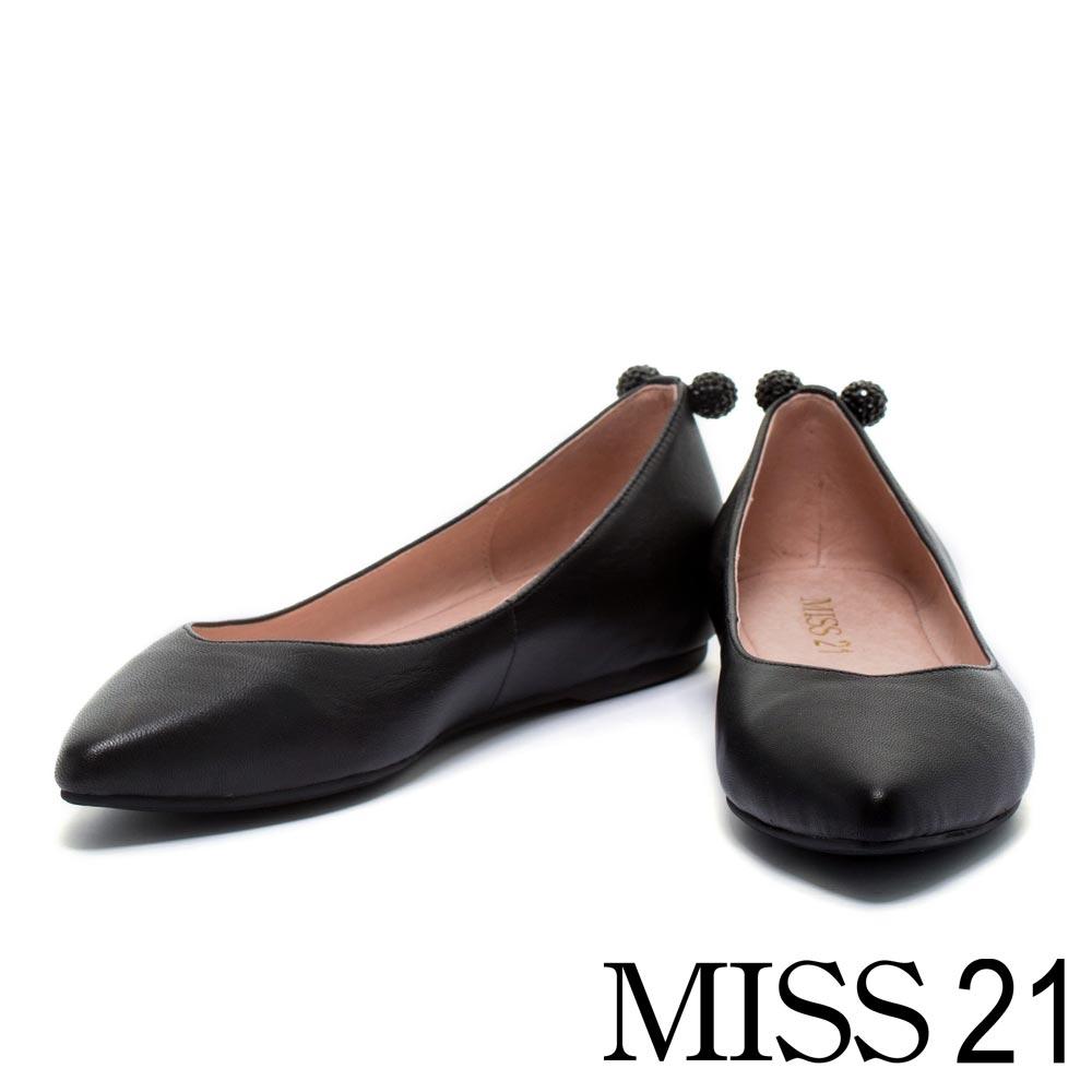 平底鞋 MISS 21 甜心馬卡龍水鑽配飾羊皮平底鞋-黑
