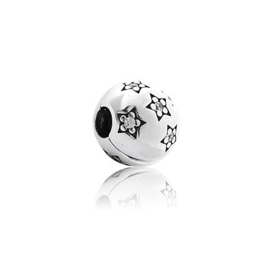 Pandora 潘朵拉 星夜水鑽 夾釦式純銀串珠 墜飾 間隔珠