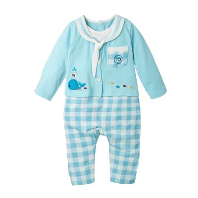 baby童衣-海軍領水手服假2件薄長袖連身衣