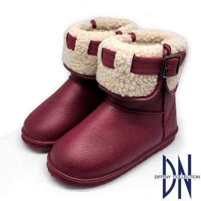 DN 暖冬甜心 反摺毛拼接皮帶釦環雪靴 紅