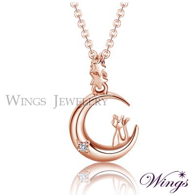 Wings 月亮上的精靈小貓 精鍍玫瑰金項鍊