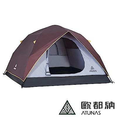 【ATUNAS 歐都納】露營帳篷A-TENT1402咖啡+天幕帳A-TENT1610黃褐咖