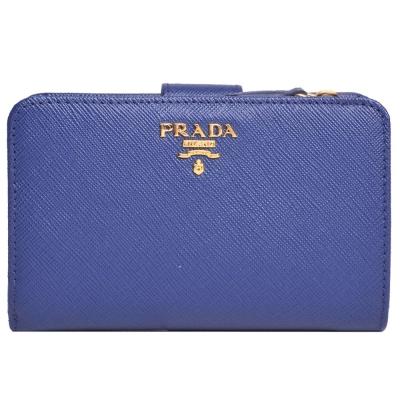 PRADA Saffiano 雙色拼接金字防刮牛皮釦式中夾(藍x淺藍)