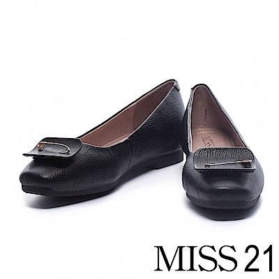 娃娃鞋 MISS 21 優雅獨特造型飾釦牛皮娃娃鞋-黑