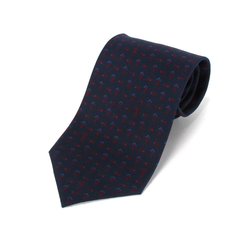 TRUSSARDI 碎雙菱圖領帶-藍/紅