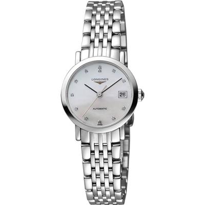 LONGINES Elegant Collection 真鑽機械女錶-珍珠貝/25mm L43094876