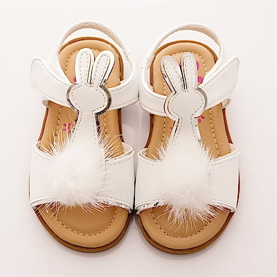 PV日系私藏~毛球白兔涼鞋款-7305白(寶寶段)T1
