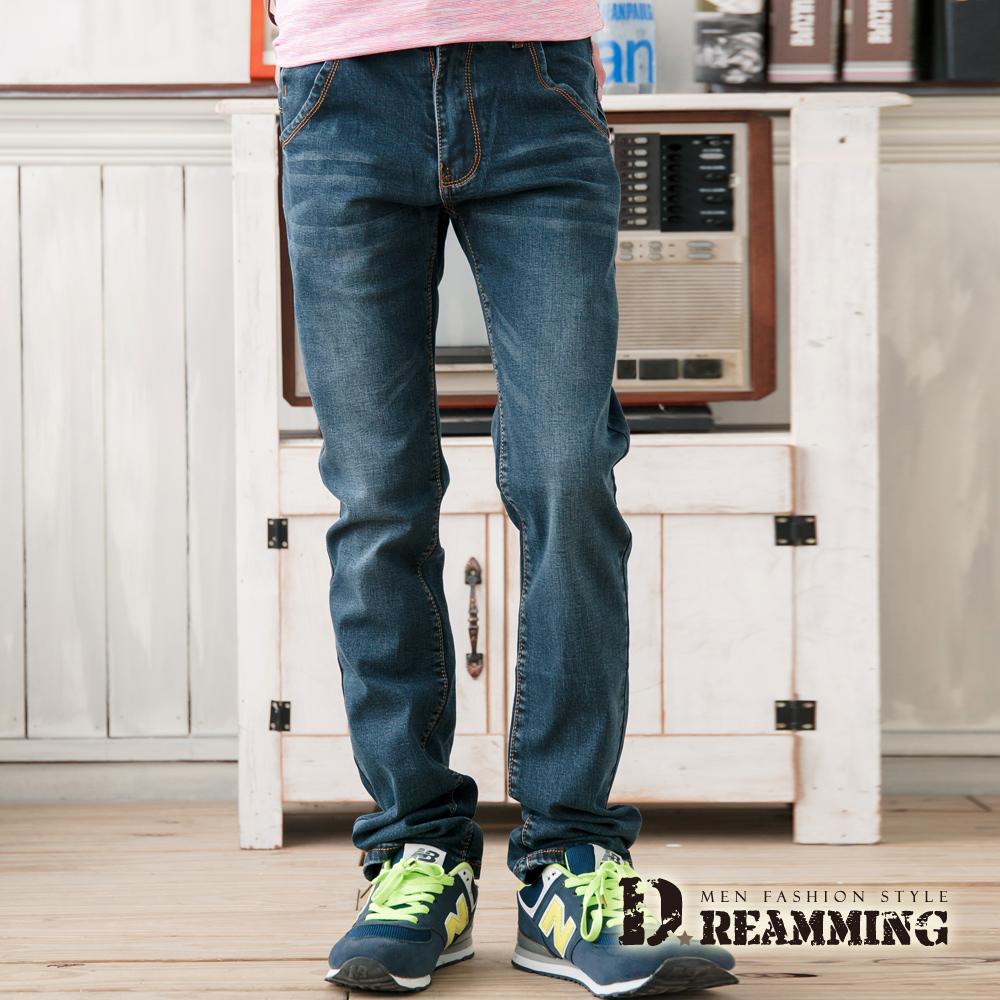 Dreamming 日系滾邊造型口袋單寧小直筒褲