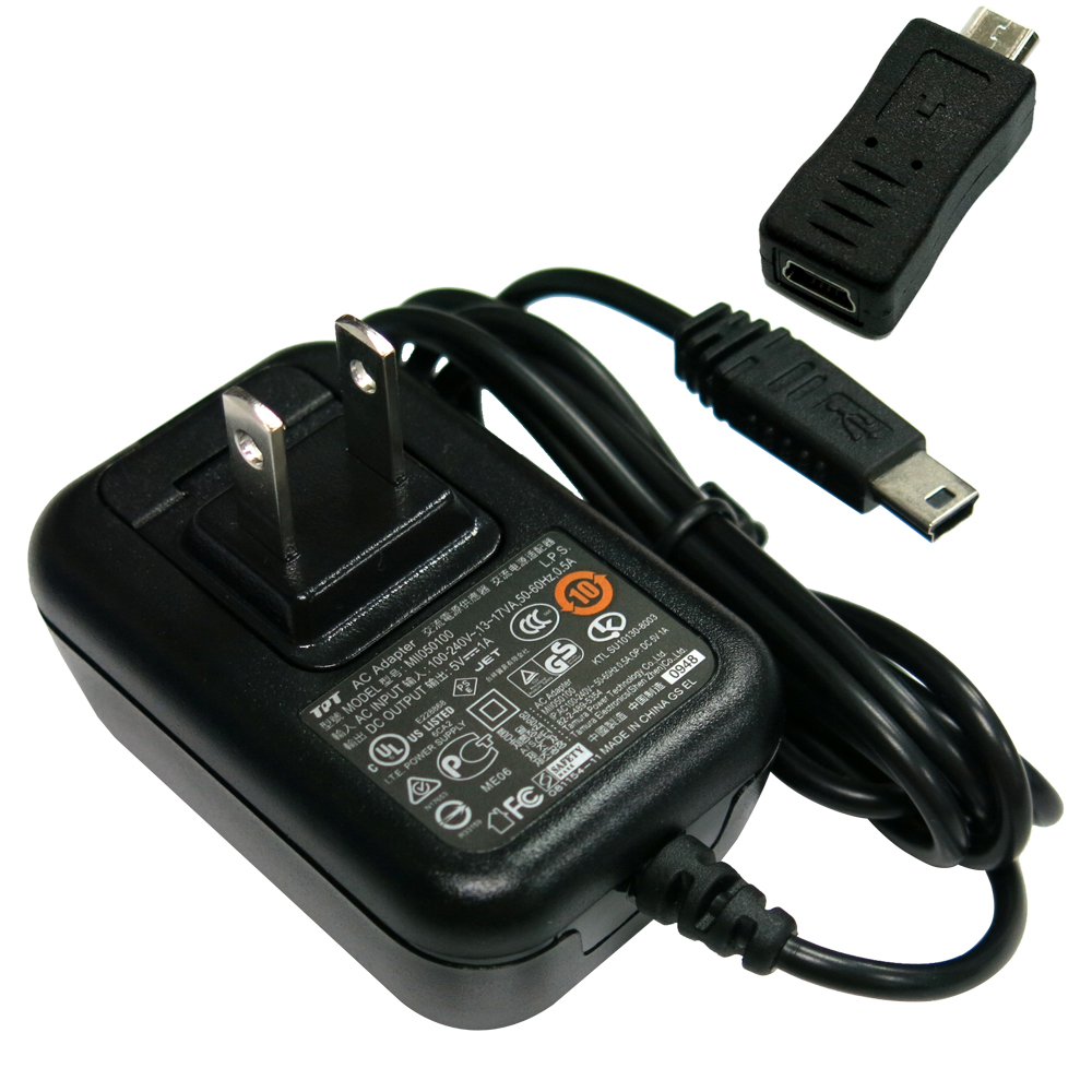 Mio 原廠旅充 1.2米1A-Mini-Micro USB二用